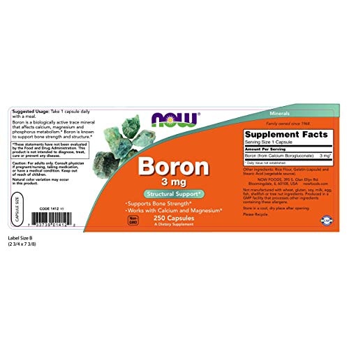 NOW Boron 3 mg,250 Capsules For Sale