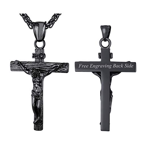(U7 INRI Crucifix Cross Necklace Back Side Engravable Vintage Pendant with Black Metal Plated Stainless Steel Rope Chain 26