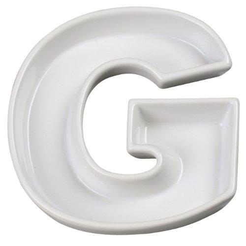 Ivy Lane Design Ceramic Love Letter Dish, Letter G, White