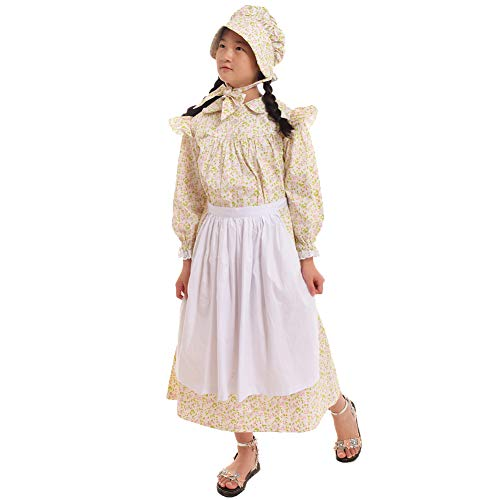 GRACEART Girls' American Pioneer Colonial Costume Prairie Dress 100% Cotton (Beige,Size-12) for $<!--$48.99-->