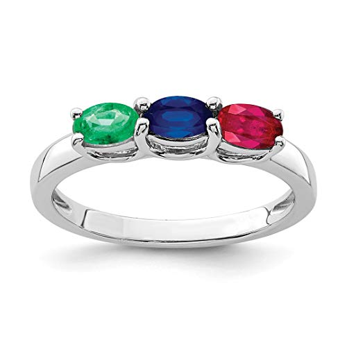 925 Sterling Silver Emerald/ruby/sapphire Band Ring Size 6.00 Gemstone Fine Jewelry For Women Gift Set