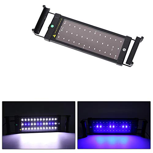 MLJ Aquarium Light, Fish Tank Light Blue and White Color LED Aquarium Lighting with Extendable Brackets(11-32W, 19-53…