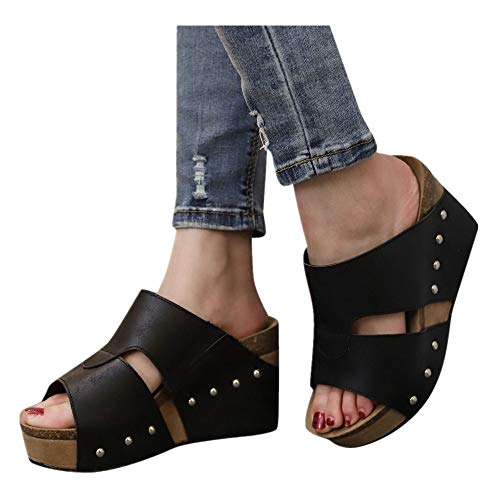 (Women Platform Wedges Sandals - Summer Cutout Open Toe Ankle Strap Beach Dress Wedding Shoes (Black -4, US:8.5))