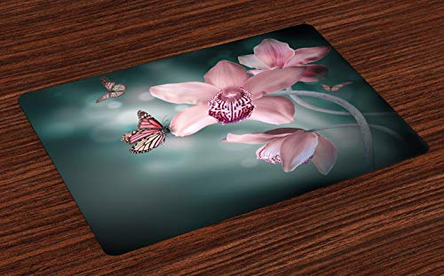 - Ambesonne Floral Place Mats Set of 4, Orchid Flower with Butterfly Soft Fresh Spring Nature Theme Art Photo, Washable Fabric Placemats for Dining Room Kitchen Table Decor, Baby Pink and Jade Green