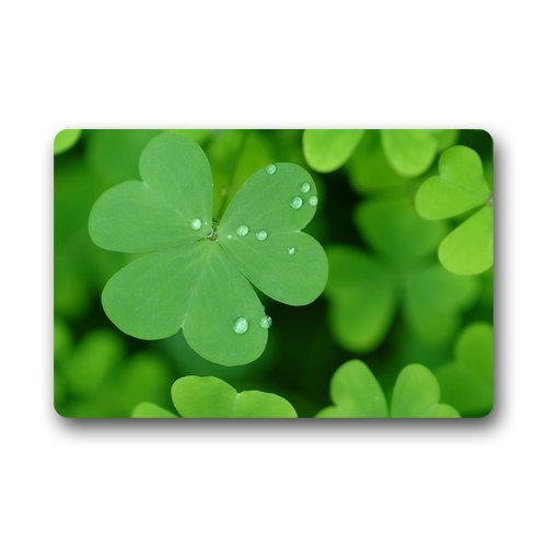 shirt home Authentic Home Decoration Green Clover Irish Luck Leaves Custom Doormat Manchine-Washable Door Floor Mat/Gate Pad 23.6 By 15.7 Inch