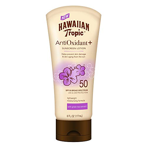 - Hawaiian Tropic AntiOxidant+ Sunscreen Lotion, Lightweight Sun Protection, Broad Spectrum, SPF 50, 6 Ounces