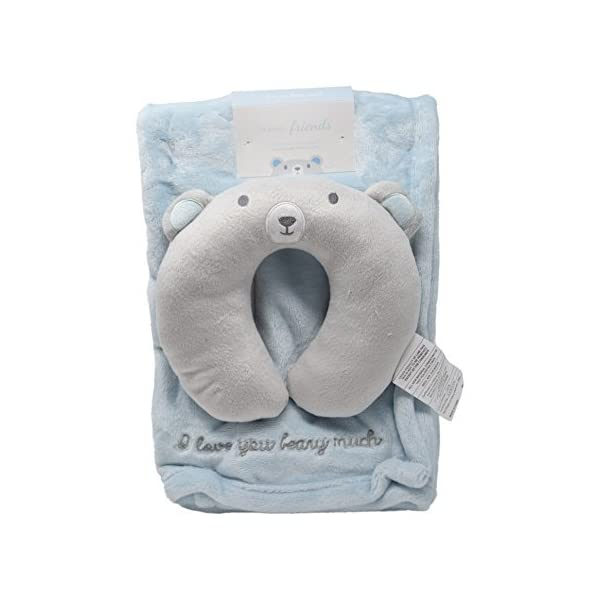 Minky Cozy Baby Blanket with Travel Animal Face U-Pillow Unisex Options Baby Swaddling Receiving Stroller Blanket