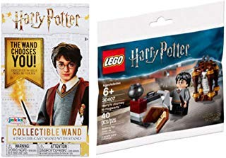 The Wand Chooses You! Harry Potter Brick Set Journey to Hogwarts Building with Hedwig Mini Figure + Die-Cast Wizard Wand Box
