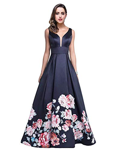 Aurora Bridal Womens V Neck Floral Print Evening Dresses 2019 Long Formal Prom Party Gowns Size 16 Navy Blue