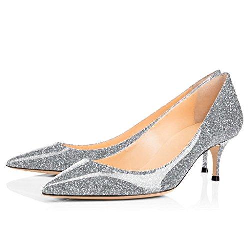 Chaussures Bureau Argent Fermé 5 Heel Shoes Bout Escarpins ELASHE Kitten 6 Briller cm Classique 3 Soiree Pointu Femme fW7Tw0Tq