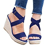 Womens Wedge Platform Espadrille Strappy Sandals Cross Ankle Strap Slingback Open Toe High Heel Summer Sandals Blue
