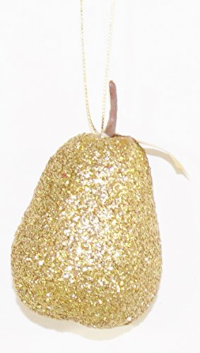 12 Holiday Gliiter Ornaments - Assorted Designs (Golden - Pear Decoration
