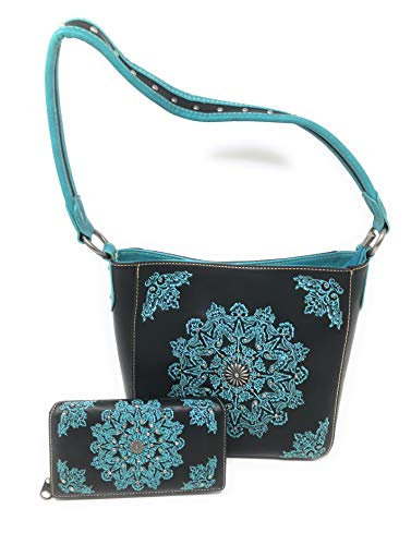 Set of Women's Concealed Carry Hobo Single Strap Purse with Mandala Boho Design with Matching Wallet (Black)