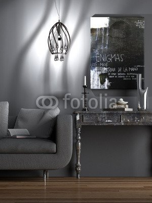 Poster Bild 80 X 110 Cm Wohnzimmer Alte Und Neue Möbel Kombiniert