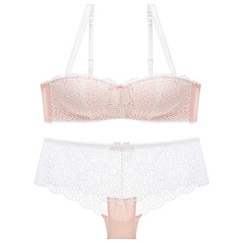 Traditional Underwear Ladies Gathered Bra Set Gathered Bra(Pink 36A)