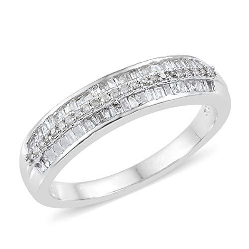Journey Diamond Fashion Ring - Baguette Diamond Band Ring 925 Sterling Silver Platinum Plated Gift Jewelry for Women Size 10 Cttw 0.5