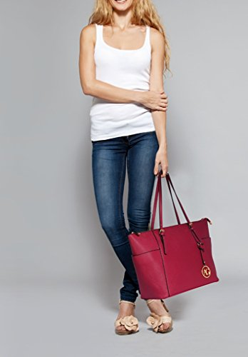 Shoulder Quality Oversize Bags Women Bag Shopper AG CHARM Women's LeahWard® BURGUNDY Handbags Faux CW30 For Leather Holiday School Iwf0qntd