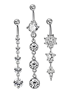 JOERICA 3PCS 14G Stainless Steel Belly Button Rings Navel Body Jewelry Belly Piercing CZ Inlaid