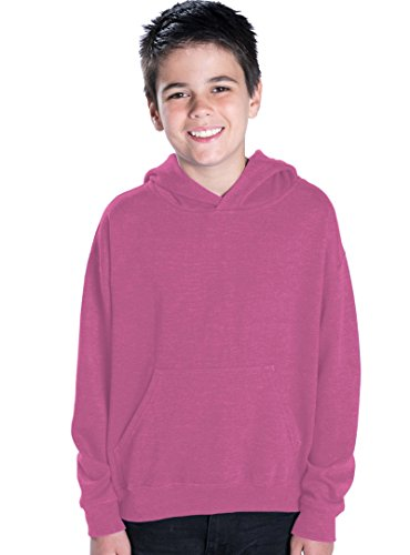 LAT Apparel Youth Pullover Fleece Hoodie - X-Small - Raspber