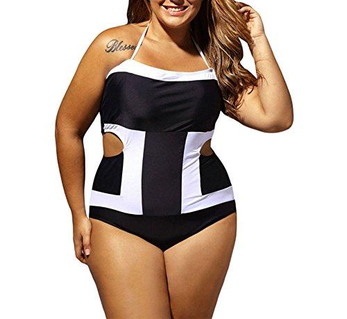 Mujer Trajes de Baño Cabestro Blanco y Negro Bikini Monokini para Verano Como Foto