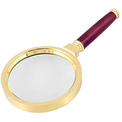 BreaDeep Handheld 80mm 10X Magnifier Magnifying Glass Loupe with Redwood Handle and Metal Lens Holder for Reading Jewelry Repair by BreaDeep