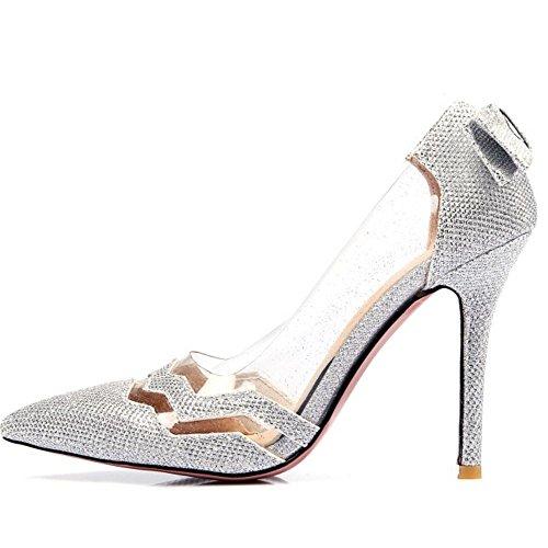Heels spitze Sommer Schuhe elegante Frauen Party Silber Zehe Coolcept UPwqgOFpW