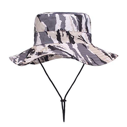 Crytech Fishing Sun Boonie Hat Waterproof Breathable Mesh Wide Brim Summer Uv Protection Safari Cap Foldable Outdoor Fisherman Hunting Hat Camo Tacticle Bucket Hat for Women Men (Grey)