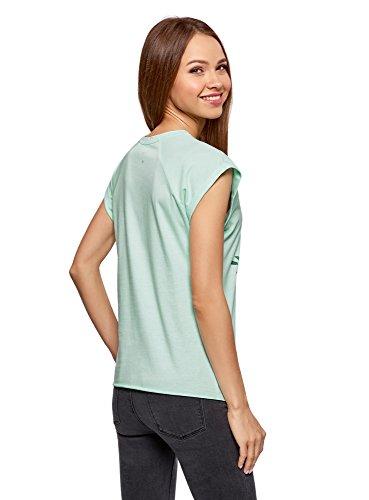 Verde T con Larga 6519p Ultra Donna Shirt oodji Stampa qZwvfEC