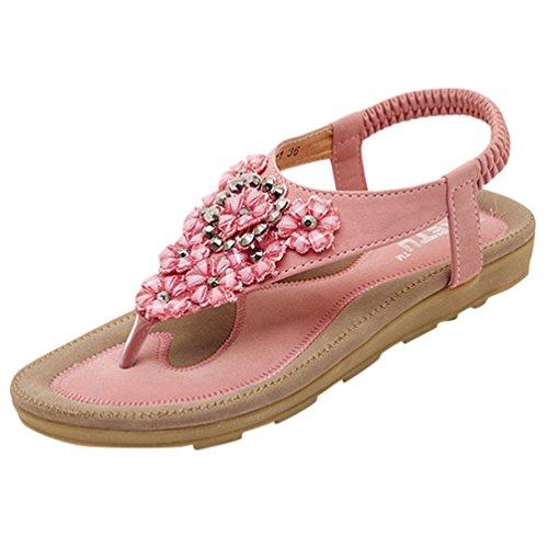 Rosa 2 Flate 5 Rhinestone Nydelige Kvinners 8 Sandaler Blomster Til Youjia Stropp wgq4FAf