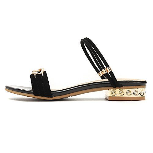 Mules Women TAOFFEN Fashion Strap Black Sandals Ankle 4SwqTFxf