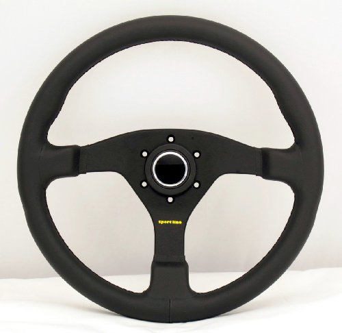 Sport Line Racing Steering Wheel - Comfort - 350mm (13.78 inches) - Black Leather with Black Stitching - Black Spokes - Part # 20142/35 - Line Racing Wheels