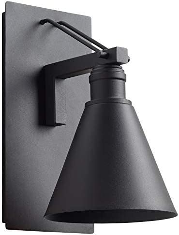 Amazon Brand Stone Beam Modern Indoor Outdoor Wall Mount Sconce with Light Bulb, 11.75 H, Black