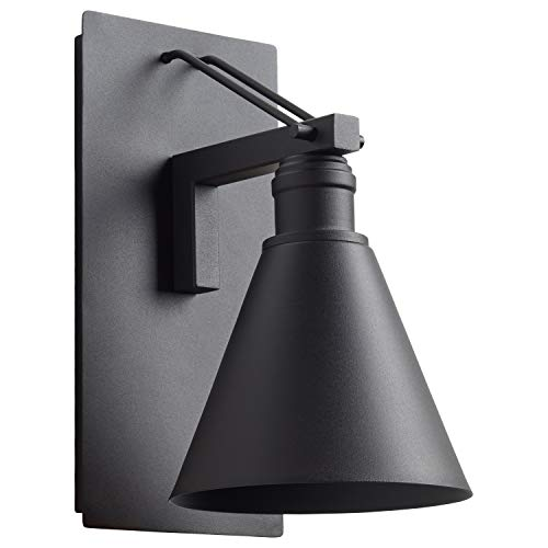 Stone & Beam Modern Cone-Shaped Indoor Outdoor Wall Mount Sconce with Light Bulb - 11.75 x 8.5 x 6.75 Inches, Black