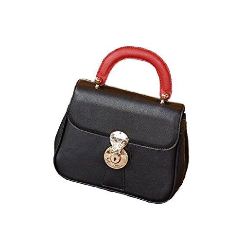 FZHLY Estate In Europa E La Spalla Stati Uniti Colore Solido Di Modo Piccolo Sacchetto Piazza Signore Lock Bag,Black