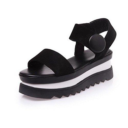 Amoonyfashion Kvinna Kattunge Klackar Mjukt Material Fast Dra På Öppen Tå Sandaler Svarta