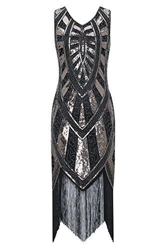 Metme 1920s Vintage Inspired Fringe Embellished Gatsby Flapper Midi Dress Prom Party, Black+bronze, Medium