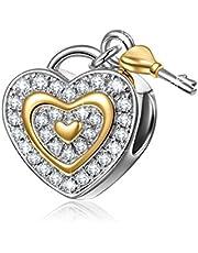 NINAQUEEN Charm Pandora Charm Cuore Aperto Regalo Donna Regali per Lei Argento 925 Regali per la Madre Fidanzata Moglie, Argento
