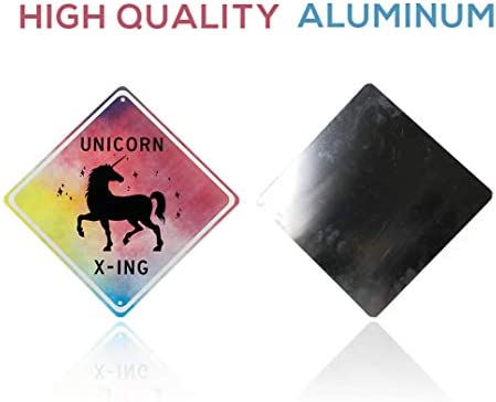 put the poster away and add magic to any girls room with our novelty aluminum x-ing unicorns signs Second Avenue Creations Unicorn room decor beautiful bedroom wall decoration for girls unicorn crossing sign