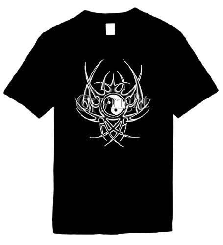 Ptshirt.com-19372-Mens Yin Yang Tribal T-Shirt Unisex Novelty Men\'s Shirt-B0045F14E2-T Shirt Design