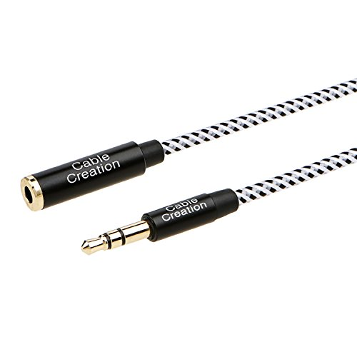 CableCreation [2-PACK] 6 Feet 3.5mm Male to Female Extension Stereo Audio Extension Cable Adapter, Slim and Soft Aux Cable with Gold Plated Connector, Black and White Photo #4