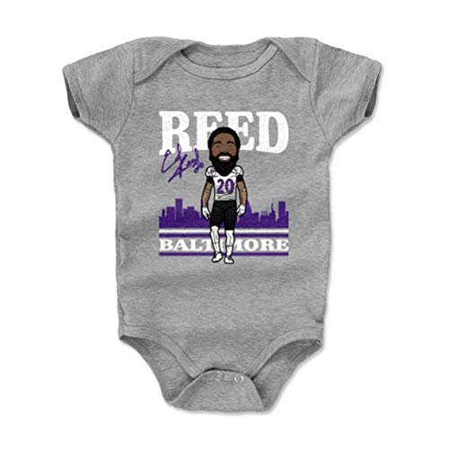 - 500 LEVEL Ed Reed Baltimore Ravens Baby Clothes, Onesie, Creeper, Bodysuit (3-6 Months, Heather Gray) - Ed Reed Toon P WHT