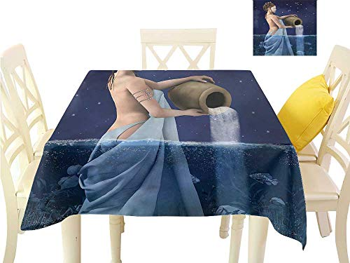 (WilliamsDecor Outdoor Tablecloth Astrology,Aquarius Lady with Pail Dinning Tabletop Decoration W 36
