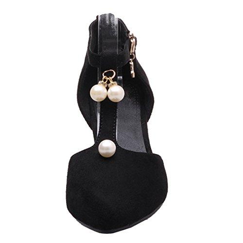 AIYOUMEI Damen Wildleder T-spangen Pumps mit 6cm Absatz und Perlen Blockabsatz Bequem Sommer Schuhe Schwarz