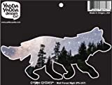 """PS-107 - Cosmic Forest Night Wolf - Peel and Stick Vinyl Decal - Copyright YYDC (6""""w x 3""""h)"""