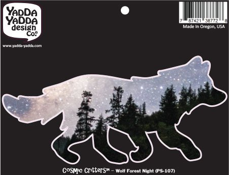 PS-107 - Cosmic Forest Night Wolf - Peel and Stick Vinyl Decal - Copyright YYDC (6