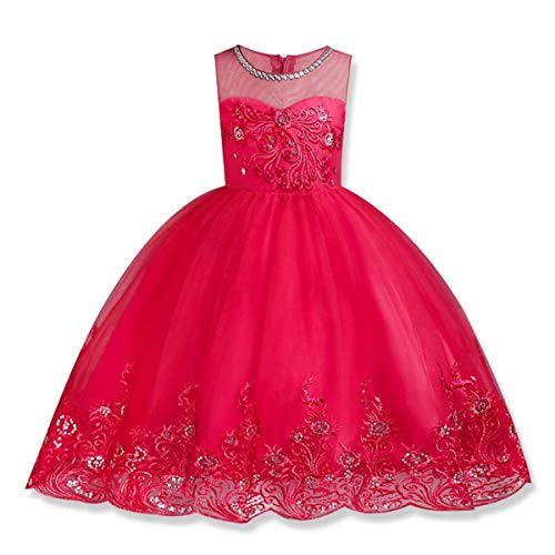 Girl Lace Flower Princess Dress Tulle Party Fall Gown Wedding Bridesmaid Christmas Pageant (Rose,6-7 Years)