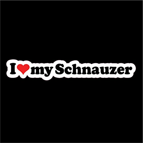 NI556 I Love My Schnauzer Decal | 2-Pack | 7.5-Inches Wide (I Love My Giant Schnauzer)