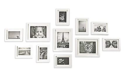 Ray & Chow Conjunto de Marcos de Fotos Blanco de Madera SÓLIDA - Set de 11