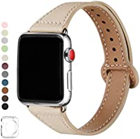 LOVLEOPコンパチブル apple watch バンド 38mm 40mm,本革ルプアッープ交換用細いストラップリストバンド iWatch SE,Series 6/5/4/3/2/1シリーズに対応
