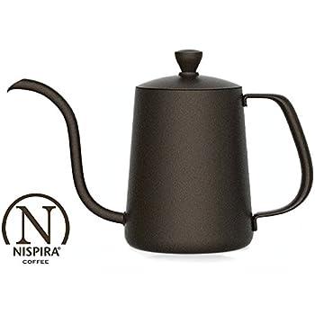 nispira pour over drip coffee tea pot kettle in teflon stainless steel gooseneck narrow spout